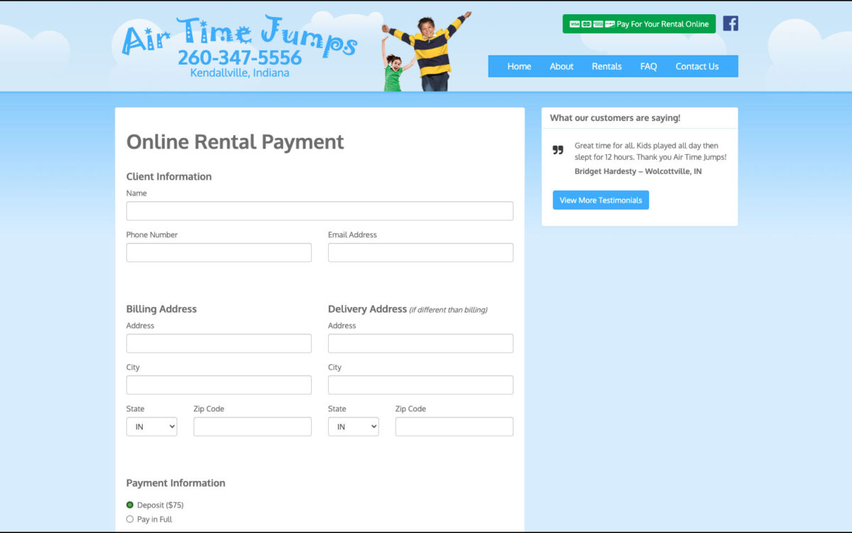 Air Time Jumps - Payment Page