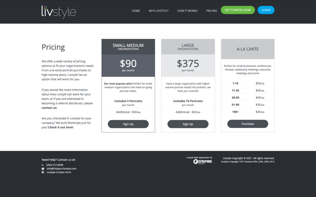 Livstyle - Pricing