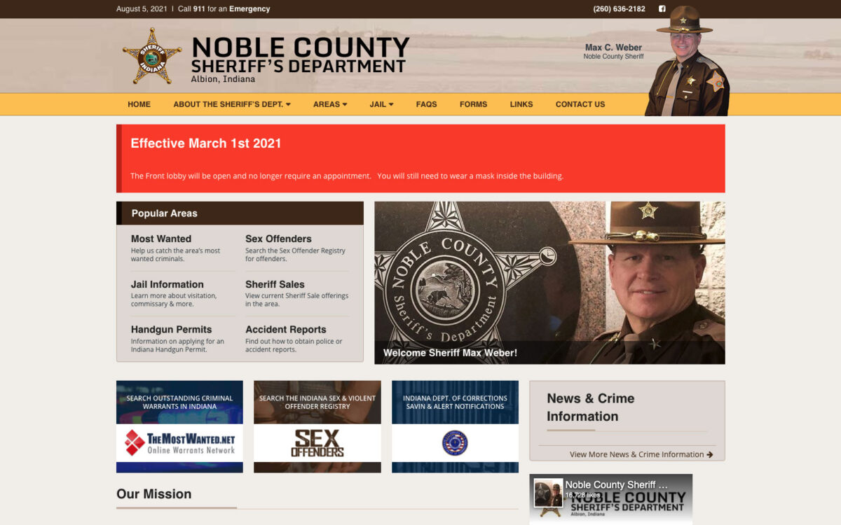 Noble County Sheriff - Home Page