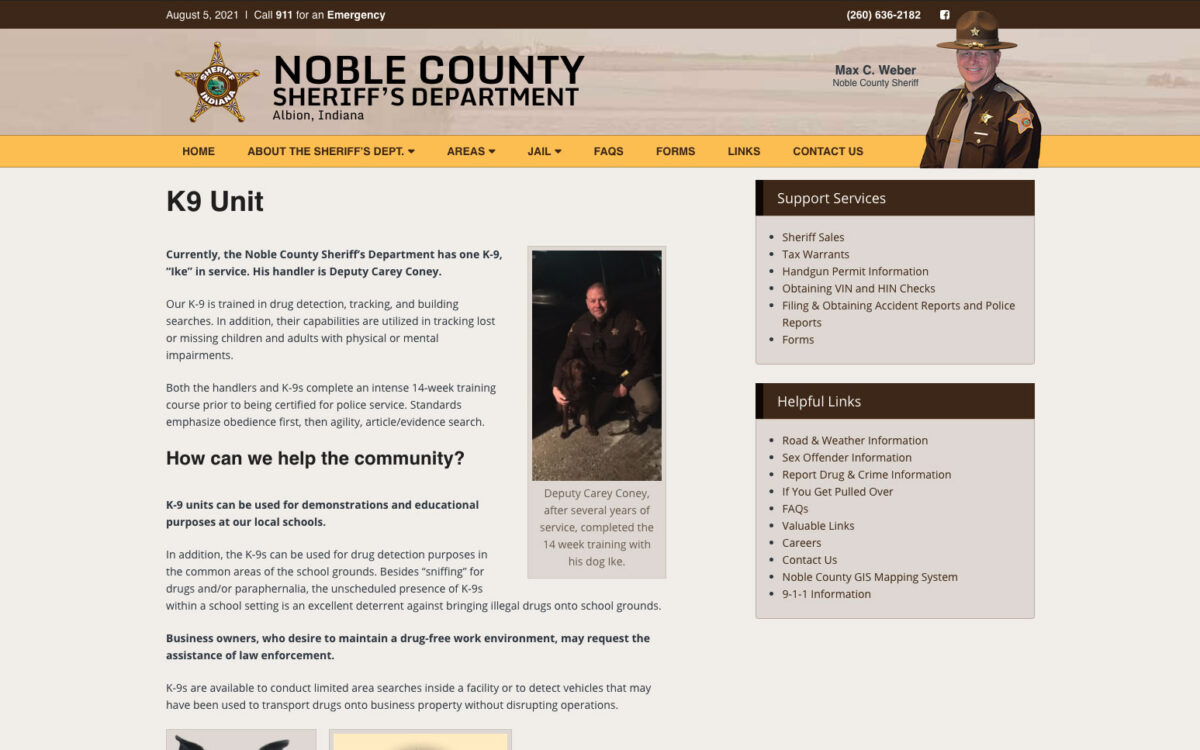 Noble County Sheriff - Inner Page